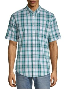 George Men's Short Sleeve Stretch Plaid Shirt