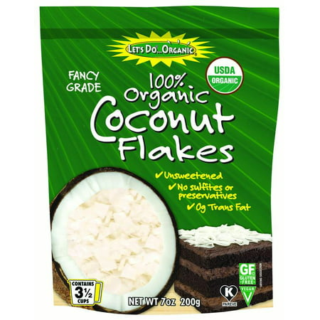 Organic Shredded Coconut ((2 Pack) Edward & Sons Trading Co Coconut Flakes, Og, 7 oz)