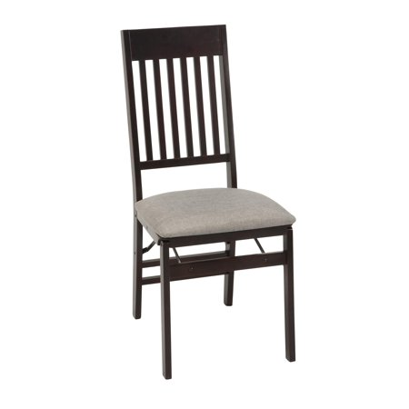 COSCO Mission Back Folding Chair with Fabric Seat, Espresso, 2 Pack Cherry Mission Folding Chair