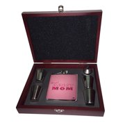 KuzmarK Pink Leather Flask Set in Rose Wood Gift Box - Proud Army Mom Camouflage