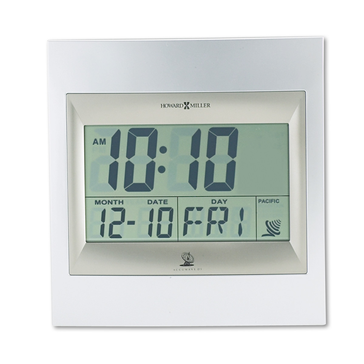 "Howard Miller TechTime II Radio-Controlled LCD Wall/Table Alarm Clock, 8-3/4""W x 1""D x 9-1/4""H"
