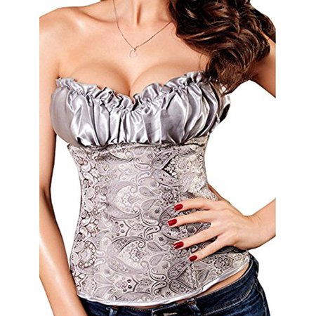 30cb119102 SAYFUT Women s Sexy Overbust Corset Busiter Jacquard Floral Waist Trainer  Corset Shapewear With G-string Black Sweet Fume Gray Plus Size S-6XL