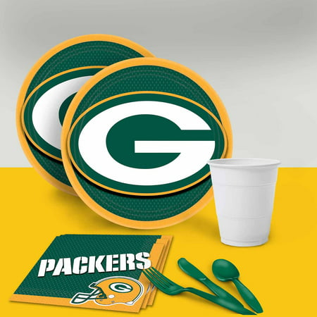 Green Bay Packers Tableware Party Pack for 16 - Green Bay Packers Party Supplies