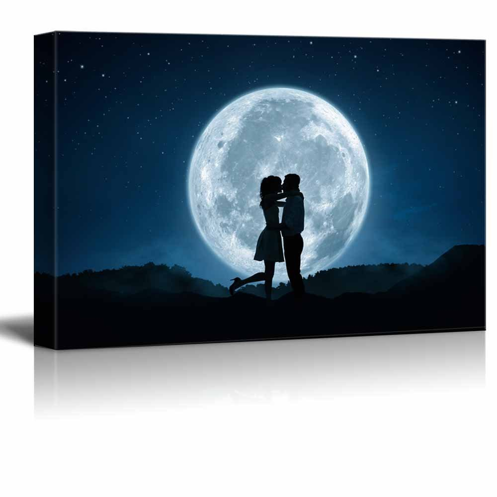 "Canvas Prints Wall Art - Silhouette of Loving Couple Kissing agains the Full Moon - 24"" x 36"""