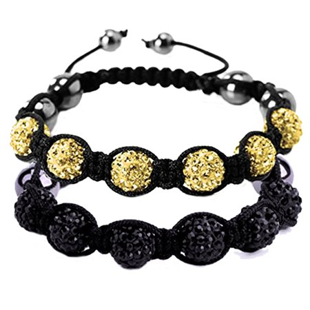 BodyJ4You 2PCS Disco Ball Bracelets 6 Beads Black Yellow Pave Crystals Iced Out Jewelry (Disco Ball Bead Bracelet)