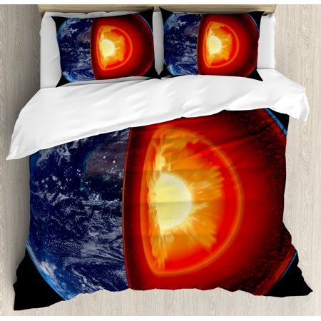 Earth King Size Duvet Cover Set  Hot Burning Earth Core Structure With Geological Layers Vibrant 3D Style Image  Decorative 3 Piece Bedding Set With 2 Pillow Shams  Orange Black Blue  By Ambesonne