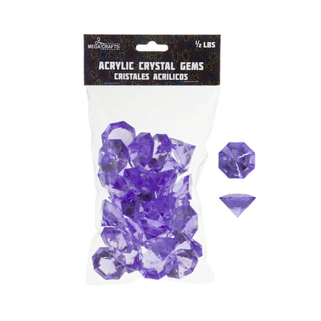 Mega Crafts - 1/2 lb Acrylic Large Diamonds Lavender | Plastic Glass Gems For Arts And Crafts, Vase Fillers And Table Scatters, Decoration Stones, Shiny Pebbles - Table Scatter Gems