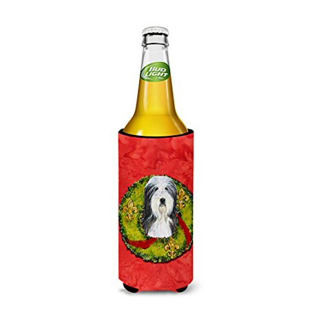 Carolines Treasures SS4186MUK Bearded Collie Christmas Wreath Michelob Ultra bottle sleeves For Slim Cans - 12 oz. - image 2 de 3