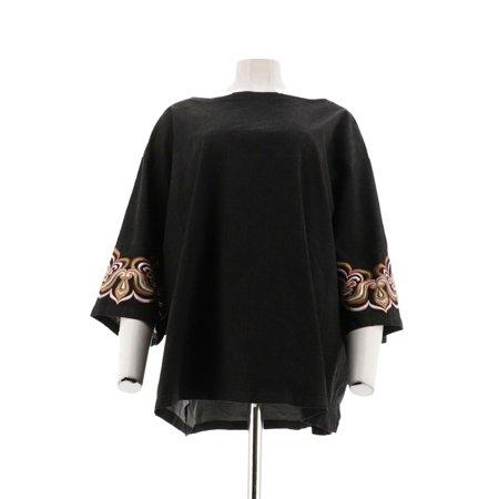 - Bob Mackie Drop Shoulder Blouse Slv Embroidery A303007