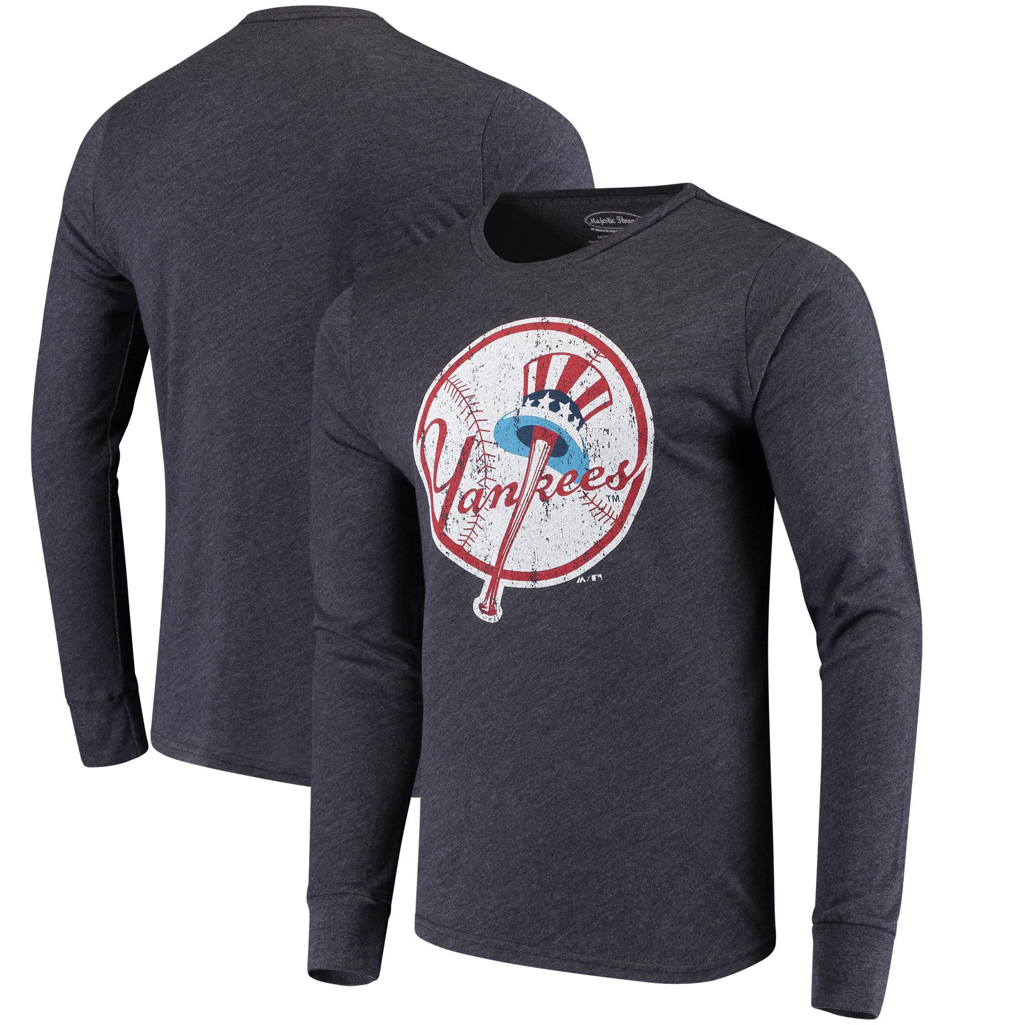 Men's Majestic Threads Heathered Navy New York Yankees Tri-Blend Long Sleeve T-Shirt