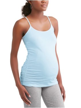 Oh! Mamma Maternity camisole tee with flattering side ruching--available in plus-size
