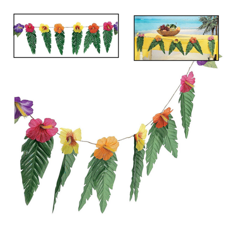 Hawaiian Luau Garland With Flowers and Green Leaves