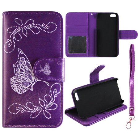 Leather Stand - White Butterfly Purple Wallet Folio Case for for Iphone 6 & 6S Fashion Flip PU Leather Cover Card Slots & Stand
