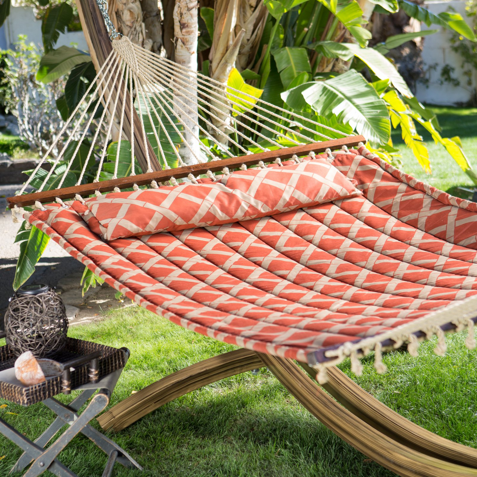 Coral Coast 13 ft. Tuscan Lattice Quilted 2 Person Double Hammock - Sienna/Taupe