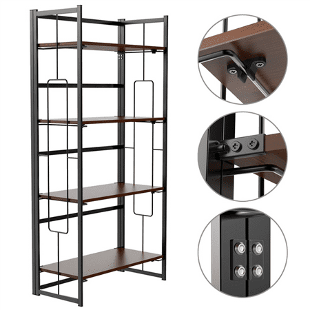 4-Tiers Folding Bookcase Mental Bookshelf Display Shelf Organizer Black