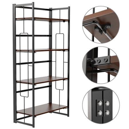 4-Tiers Folding Bookcase Mental Bookshelf Display Shelf Organizer Black ()