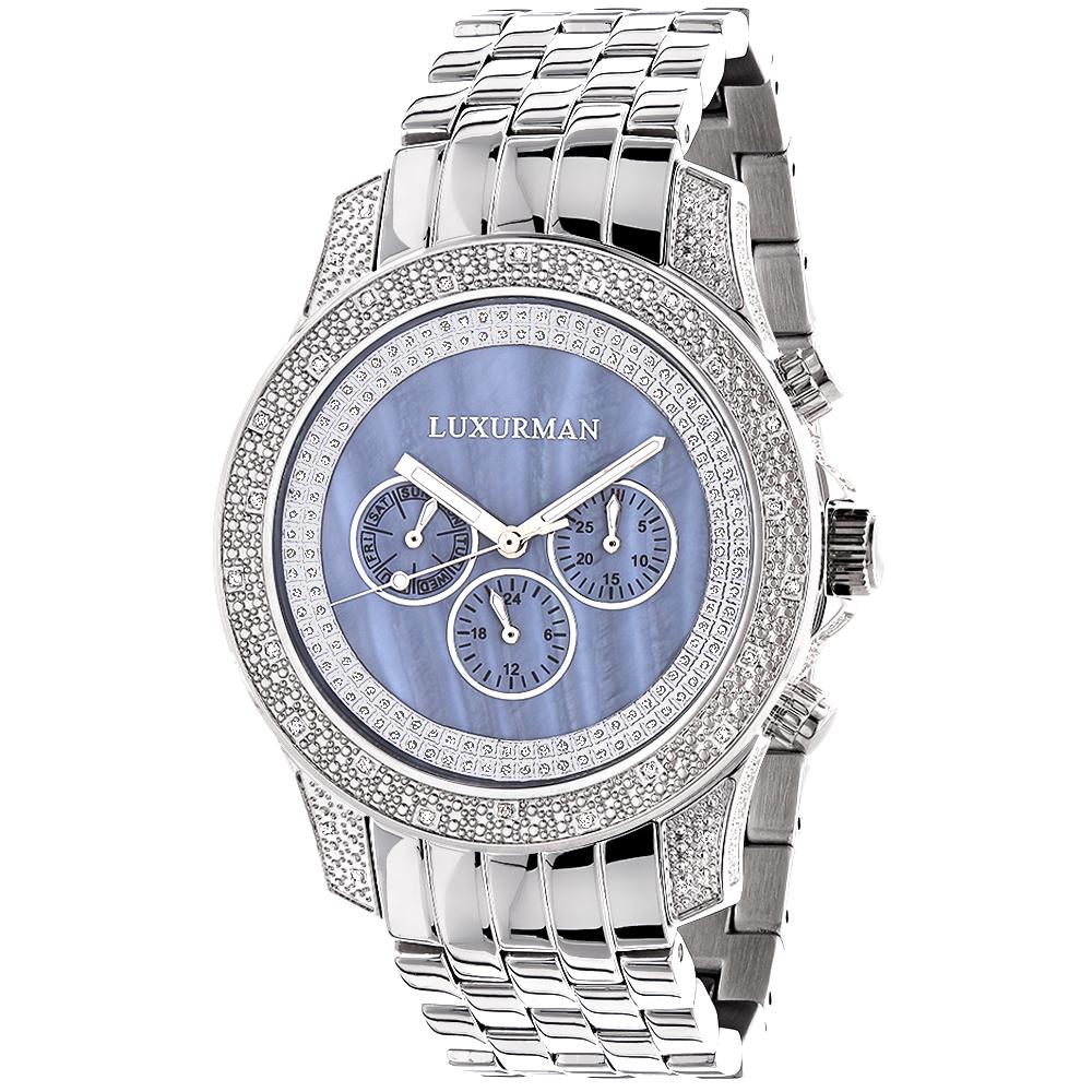 Mens LUXURMAN Diamond Watches Blue MOP 0.5ct  Freeze