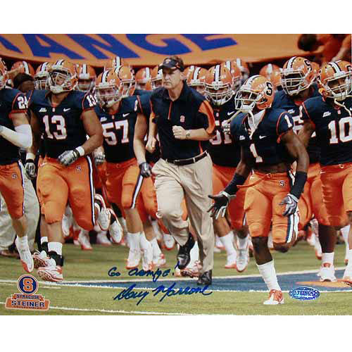 "Doug Marrone Syracuse Running on Field with Team Horizontal 8"" x 10"" Photo with Go Orange Inscription"
