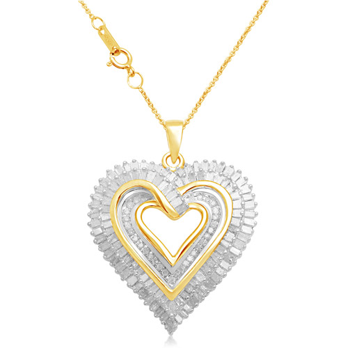 One Carat T.W. Diamond 18kt Gold-Plated Heart Pendant