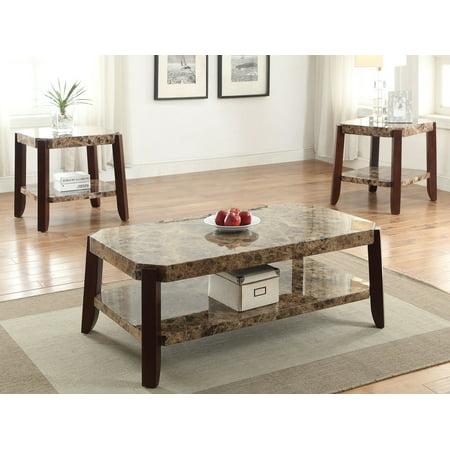 Coffee Table, Faux Marble & Brown - Veneer Faux Marble &
