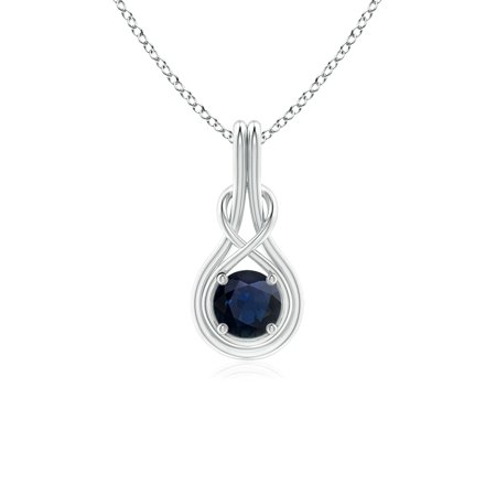 Infinity Knot Necklace - September Birthstone Necklace - Round Sapphire Solitaire Infinity Knot Pendant in 14K White Gold (5mm Blue Sapphire) - SP0566S-WG-A-5