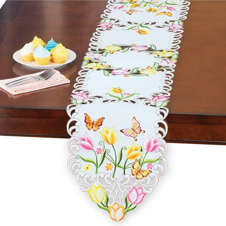 Embroidered Lovely Tulips and Daisies Cutout Table Linens - Spring Decor and Tabletop
