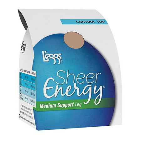 L'eggs Sheer Energy Control Top, Reinforced Toe Pantyhose 6-Pack Open Toe Sheer Pantyhose