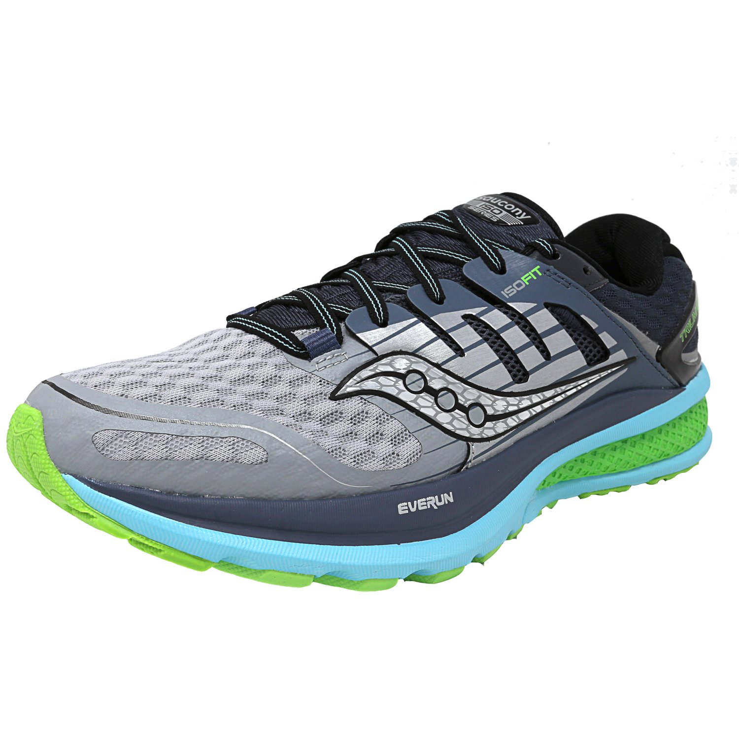Saucony Women's Triumph Iso 2 Grey   Blue Slime Ankle-High Mesh Running Shoe 8.5M by Saucony