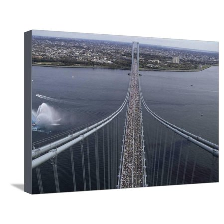 Runners on the Verranzano Bridge Competing in the 1998 NYC Marathon Stretched Canvas Print Wall