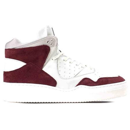 High Top Mens Sneakers - Article Number N 0225-0414 Men's High Top Sneakers Shoes Maroon White