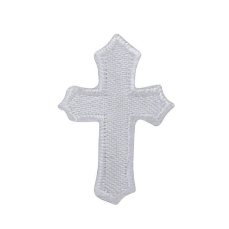 Small - White Cross - Holy - Christian - Iron on Patch - Embroidered (Tech Applique)