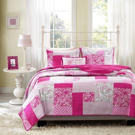 Mizone Abbey 3 Piece Coverlet Set, Twin/Twin X-Large, Pink, 1 Coverlet, 1 Standard Sham, 1 Decorative Pillow By Mi-Zone