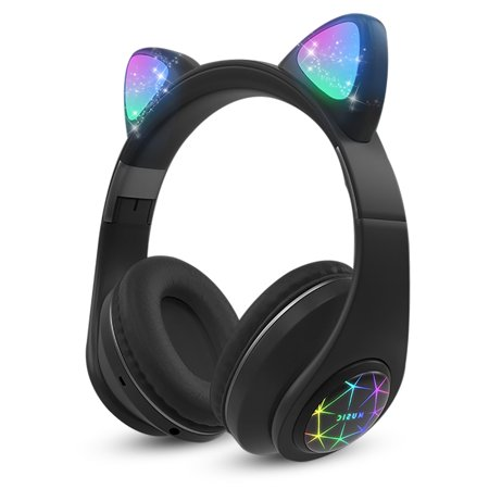 EEEKit Bluetooth Headphones Wireless Over-Ear Cat Ear Headphones with LED Light Built-in Microphone and Volume Control Fit for Cell Phones/iPhone/iPad/Laptop/PC/TV Kids Boys Girls Friends Wireless Microphone Laptop