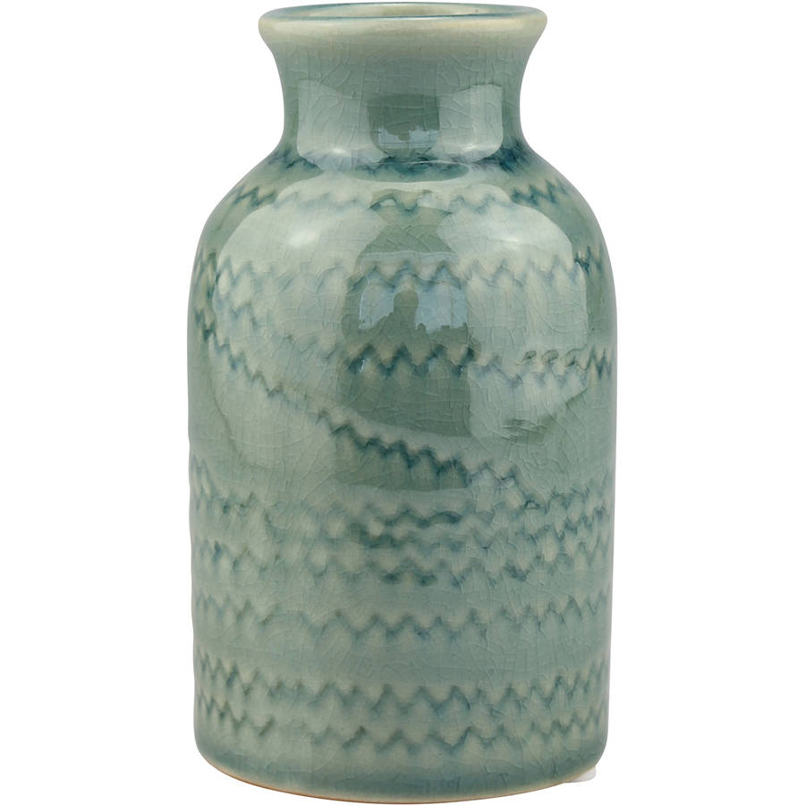 Ceramic Worn Turquoise Small Vase with Detail by CKK HOME DECOR