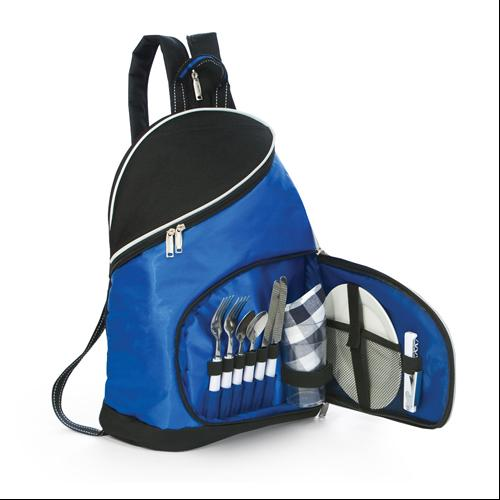 14-Piece Sporty Zippered Sling Backpack Picnic Set for 2 - Royal Blue/Black