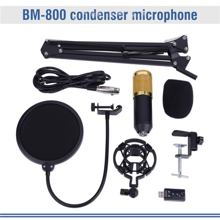 HURRISE BM800 Studio Condenser Microphone Arm Stand Pop Filter Foam Cap Kit Record Accessory