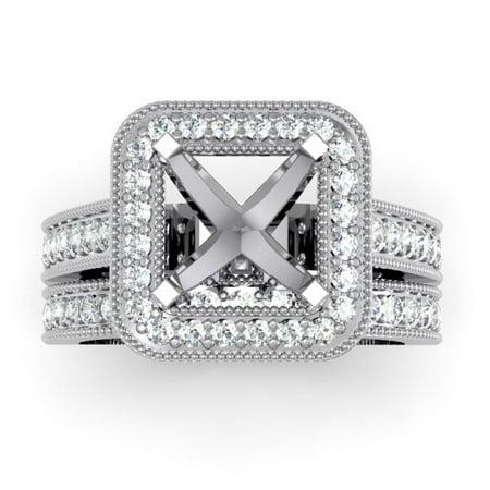 Dazzlingrock Collection 0.75 Carat (ctw) 14K Round Diamond Bridal Engagement Semi Mount Set 3/4 CT, White Gold, Size 6.5 Semi Mount Bridal Sets