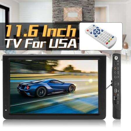 Portable 11.6 Inch TFT HD VGA ATSC ATSC.M/H TV Television Analog Support Dolby w/ Remote Control