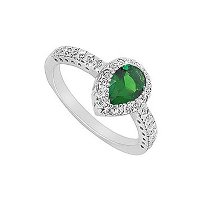 FineJewelryVault UBUK380W10CZE-118 Frosted Emerald and Cubic Zirconia Ring : 10K White Gold - 1. 33 CT TGW - Size: 7