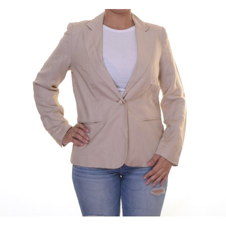 NY Collection Women's Single Button Front Jacket Size 6 Cream