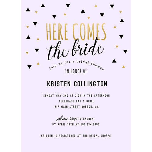Here Comes the Bride Standard Bridal Shower Invitation