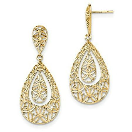 14K Yellow Gold Flower Teardrop Dangle Post Earrings