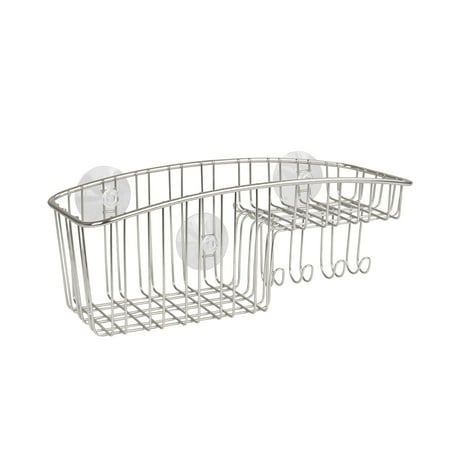 Spectrum Diversified Contempo Suction Shower Basket with Hooks, Stainless Steel, 2469 Solid Stainless Steel Shower Basket
