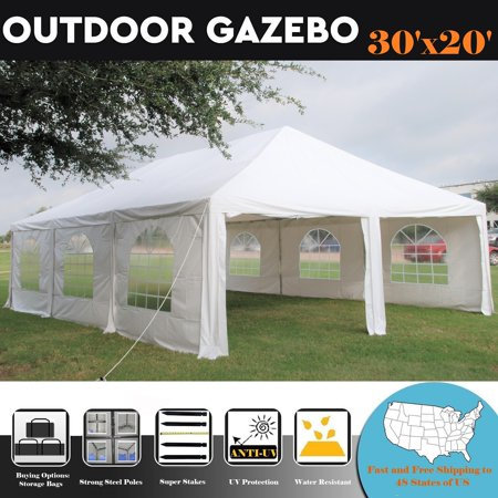 30'x20' PE Frame Tent Wedding Party Canopy Shelter White - Storage Bags Included - By DELTA