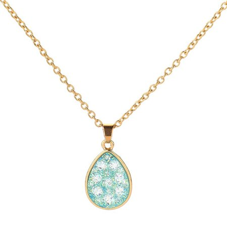 AkoaDa Drop Type Pendant Rhinestone Crystal Long Sweater Chain Necklace