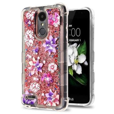 Rebel Floating - TUFF Liquid Floating Glitter Quicksand Waterfall Hybrid Silicone Gel Phone Protector Case - (Purple Stargazers) and Atom Cloth for LG Rebel 3 4G LTE L157BL, L158VL
