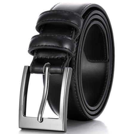 Marino's Men Genuine Leather Dress Belt with Single Prong Buckle - Black - 30