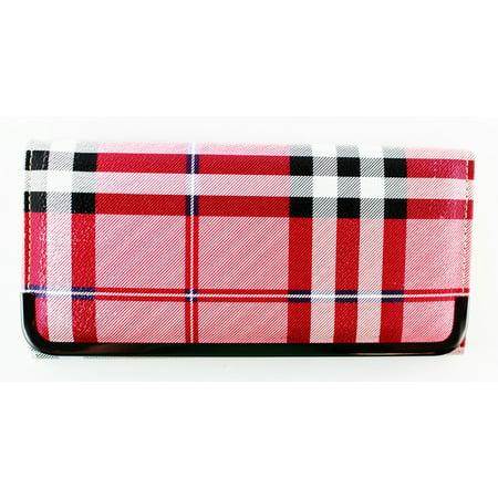 Red Plaid Compact Purse - Slim & Convenient Womans Wallet