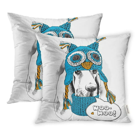 ARHOME Portrait Dog Basset Hound in Blue Owl Hat Ear Flaps Knitted Scarf Pillow Case Pillow Cover 18x18 inch Set of 2 Basset Hound Dog Portrait