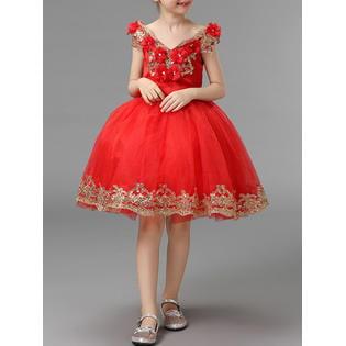 Kids Girls V-Neck Flower Decorated Fancy - 1920s Fancy Dress Ideas